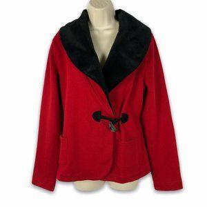 Ralph Lauren L Fleece Jersey Jacket Velvet Trim